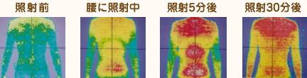 腰部の照射(15分間)によるサーモグラフィーでの体温上昇の様子